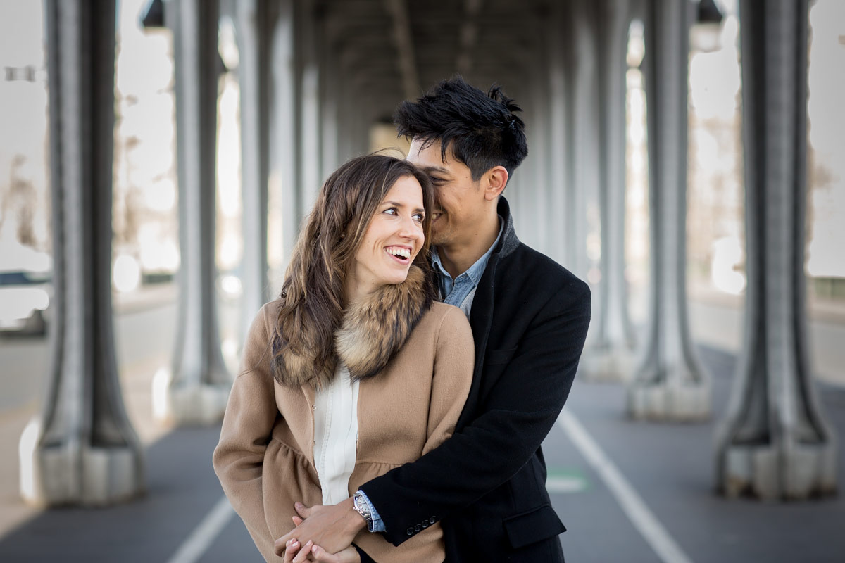 paris couple engagement portrait